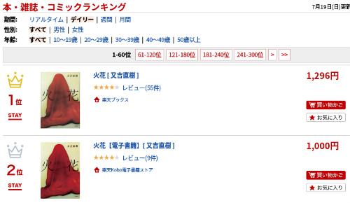 ピース又吉さん「火花」楽天ランキング1位・2位